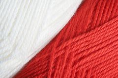 Yarn. Red and white yarn,knit,wool Royalty Free Stock Images
