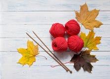 Yarn, agulhas de confecção de malhas e as folhas amarelas estão na mesa branca Imagem de Stock Royalty Free