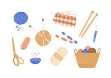 Free Yarn And Threads Colorful Flat Vector Illustrations Set. Skein Of Wool, Knitting Needles, Yarn Basket, Weaving Wool Royalty Free Stock Image - 164241656