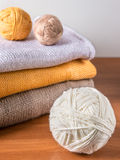 Yarn on background of knitwear Royalty Free Stock Photo