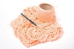 Yarn ball and crochet hook Royalty Free Stock Photos