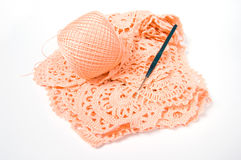 Yarn ball and crochet hook Royalty Free Stock Photography
