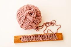 Yarn ball with loom knitting Royalty Free Stock Photos