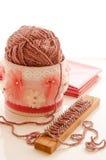 Yarn ball with loom knitting Stock Image