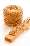 Yarn ball with loom knitting Royalty Free Stock Photo