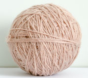 Yarn ball. One woolen yarn ball. Close up stock photo