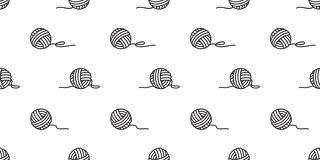 Yarn ball seamless pattern vector balls of yarn knitting needles background wallpaper scarf isolated stock illustration