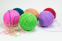 Yarn ball on white background isolated Royalty Free Stock Photography