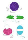 Yarn balls. Yarn colour balls set on a white background Royalty Free Stock Images