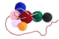 Yarn Balls. Seven yarn balls for knitting, crochet stock image