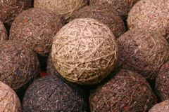 Yarn balls. Textile background, with one set atop the rest Royalty Free Stock Images