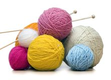 Yarn balls. Colorful yarn balls with needles Royalty Free Stock Photography