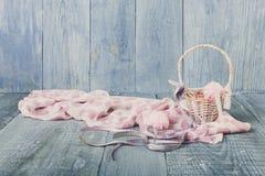Yarn balls in basket. Knitting background. Yarn balls in basket. Knitwork background. Art craft, hand made. Handiwork, knitting needlework Stock Photos