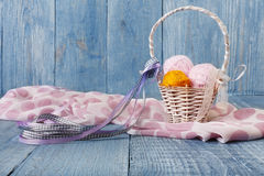 Yarn balls in basket. Knitting background Royalty Free Stock Images