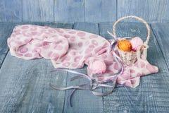 Yarn balls in basket. Knitting background. Yarn balls in basket. Knitwork background. Art craft, hand made. Handiwork, knitting, sewing, needlework. Wicker Royalty Free Stock Images