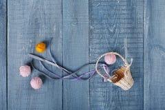 Yarn balls in basket. Knitting background top view Stock Photos