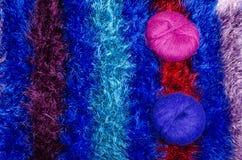 Yarn balls on blanket Royalty Free Stock Photos