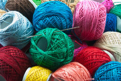 Yarn balls. Bright colored yarn balls for background use Royalty Free Stock Photo