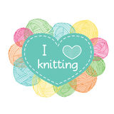 Yarn balls heart shaped frame. Colorful I love knitting label. Royalty Free Stock Image