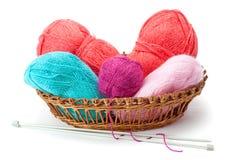 Yarn balls and knitting needles Royalty Free Stock Photos