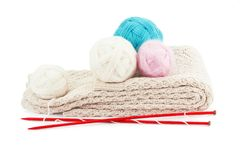 Yarn balls and knitting needles Stock Images