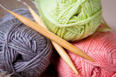 Yarn balls and round needles set Stock Photos