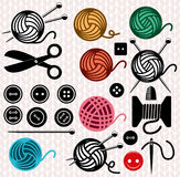 Vector yarn balls and sewing equipment Stock Image