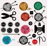 Vector yarn balls and sewing equipment Stock Image