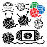 Yarn balls with sewing equipment, vector. Icons of yarn balls with sewing equipment needles and sheep symbol, vector Stock Photos
