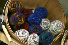 Yarn Basket. Basket of colorful yarn skeins stock photography