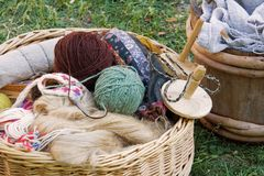 Yarn Basket. Wooden baskets with yarn and other crafting items Royalty Free Stock Photography