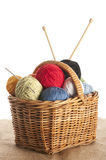 Yarn in basket. Different colored yarn in basket with knitting needle and crochet hook royalty free stock photography