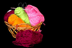 Yarn in Basket Closeup Royalty Free Stock Images