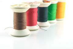 Yarn bobbins with different colors Royalty Free Stock Image