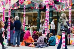 Yarn bombing in Bath, Somerset, UK Royalty Free Stock Image