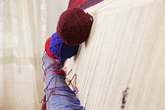 Yarn on carpet sideview Royalty Free Stock Photo