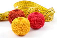 Yarn and centimeter Stock Photography