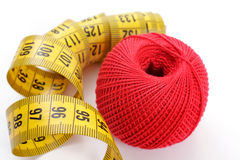 Yarn and centimeter Royalty Free Stock Photography