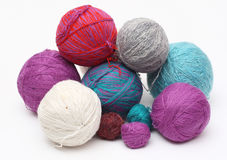 Yarn clews. Group colorful wool yarn clews Stock Photography