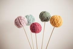 Yarn. Close up of multicolor balls of yarn royalty free stock photos