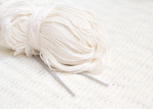 Yarn and crochet hook background Royalty Free Stock Photos