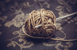 Yarn and crochet hook Stock Photos