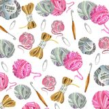 Yarn, crochet hook, buttons, pins stock photo