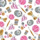 Yarn, crochet hook, buttons, tread, needle bar. royalty free illustration