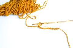 Yarn and crochet hook Royalty Free Stock Image