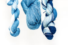Yarn dyed with natural indigo blue with Royalty Free Stock Image