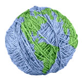 Yarn Earth. Close-up of yarn Earth isolated on white background stock photo
