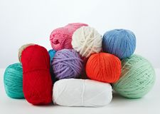 Yarn for handwork and knitting. Set on a white background Royalty Free Stock Photos
