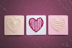 Yarn Hearts Stock Image