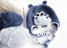 Yarn and hippo baby hat Royalty Free Stock Photography